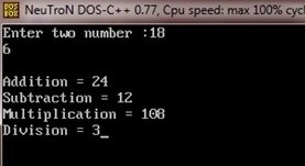 c program addition subtraction multiplication division