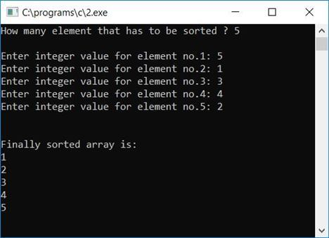 bubble sort c program using function