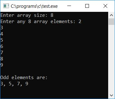 c print odd array elements