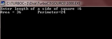 c program to calculate area and perimeter of square