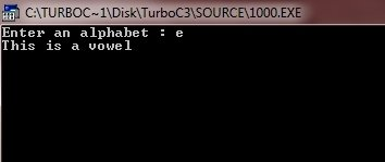 c program check vowel or not