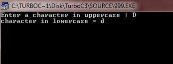 c program convert uppercase character to lowercase
