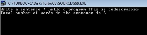 c program count number of words in sentence