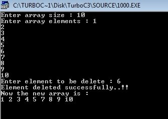c program delete element from array