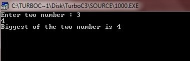 c program find largest of two numbers
