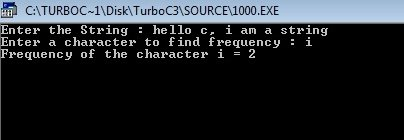 c program find frequency of character