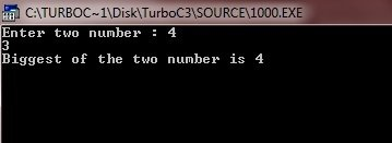 c program find greatest of two numbers