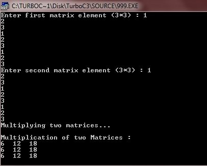 c program multiply two matrices