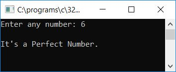 c program perfect number or not