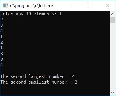 c program print second largest smallest