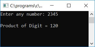 c program product of all digit