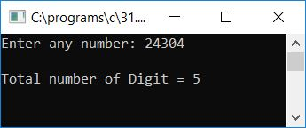calculate number of digit in given number c