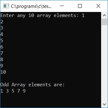 print odd array values as output c
