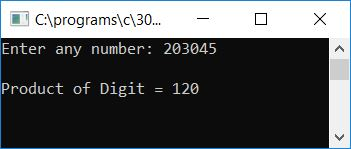 print product of digits of number c