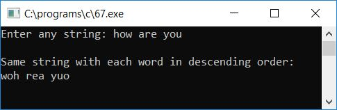 sort each word in descending order c
