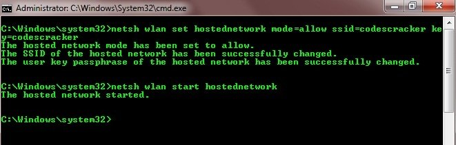 create hosted network using cmd