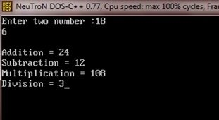 C++ program addition subtraction multiplication division