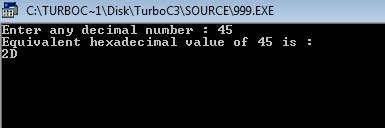 C++ program convert decimal to hexadecimal