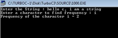 C++ program find frequency of character