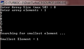 C++ program find smallest element in array