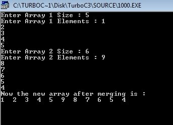 C++ Program to Merge Two Arrays