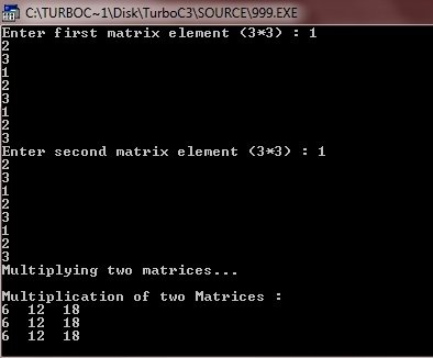 C++ program multiply two matrices