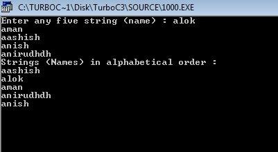 C Program Sort String