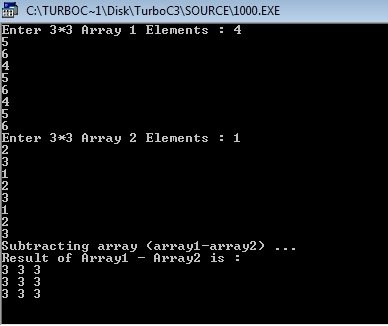 C++ Program to Subtract Two Matrices
