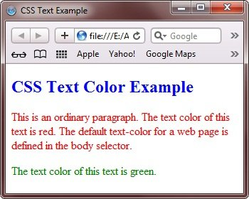 CSS Text Color Properties