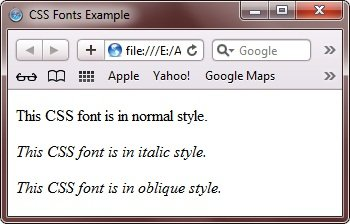 CSS Font Styles