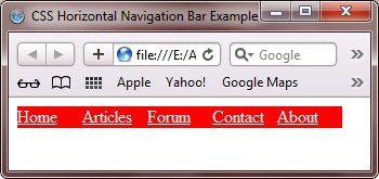 css horizontal navigation bar example