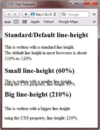 CSS line-height Property