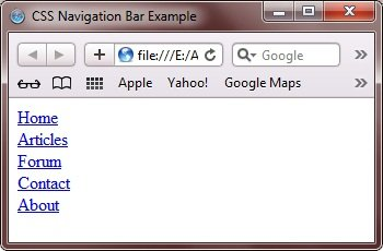 css navigation bar example