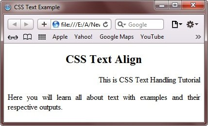 CSS text-align Property