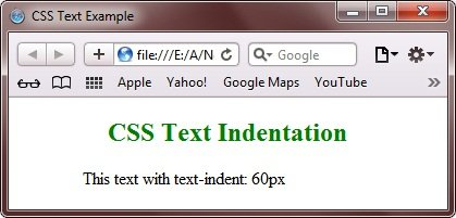 CSS Text Indentation Property