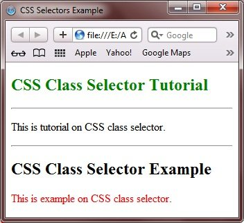 CSS Class Selectors Example