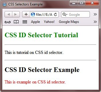 CSS ID Selectors Example