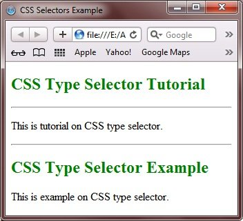 CSS Type Selector Example