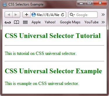 CSS Universal Selectors Example