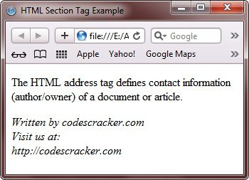 html address tag