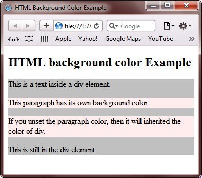 html background color example