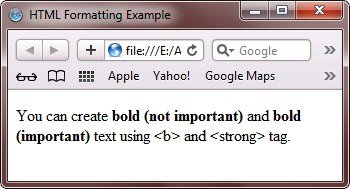 html bold and strong texts