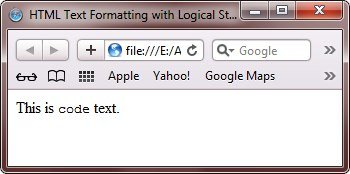 html code tag to format text