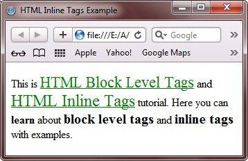 html inline tags