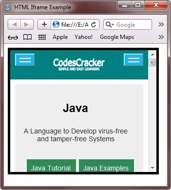 html interactive iframe example