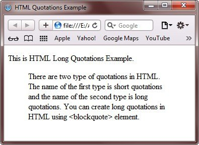 html long quotations