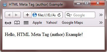 HTML Meta Tag to give author to webpage