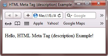 HTML Meta Tag to give keyword description to webpage