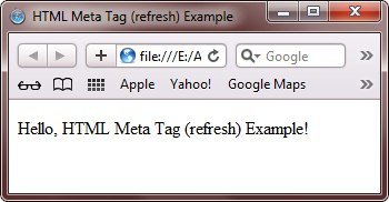 HTML Meta Tag to refresh web page automatically