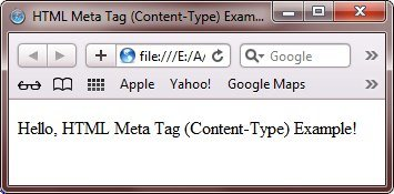 html meta tag to specify character set to webpage